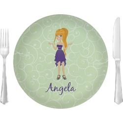 """Custom Character (Woman) Glass Lunch / Dinner Plates 10"""" - Single or Set (Personalized)"""