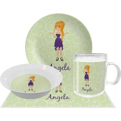 Custom Character (Woman) Dinner Set - 4 Pc (Personalized)
