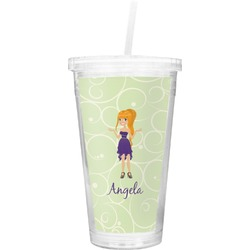 Custom Character (Woman) Double Wall Tumbler with Straw (Personalized)