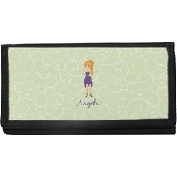 Custom Character (Woman) Canvas Checkbook Cover (Personalized)