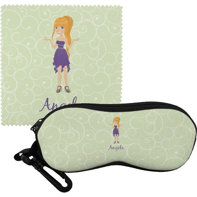 Custom Character (Woman) Eyeglass Case & Cloth (Personalized)