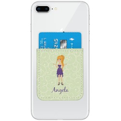 Custom Character (Woman) Genuine Leather Adhesive Phone Wallet (Personalized)