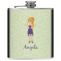 Custom Character (Woman) Genuine Leather Flask (Personalized)