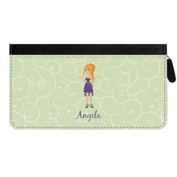 Custom Character (Woman) Genuine Leather Ladies Zippered Wallet (Personalized)
