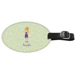 Custom Character (Woman) Genuine Leather Oval Luggage Tag (Personalized)