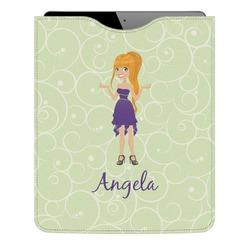 Custom Character (Woman) Genuine Leather iPad Sleeve (Personalized)