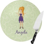 Custom Character (Woman) Round Glass Cutting Board (Personalized)