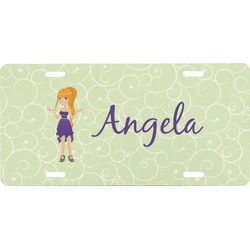 Custom Character (Woman) Front License Plate (Personalized)