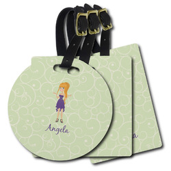 Custom Character (Woman) Plastic Luggage Tags (Personalized)