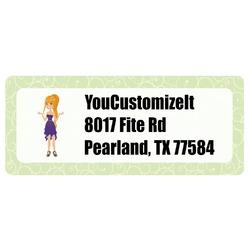 Custom Character (Woman) Return Address Labels (Personalized)