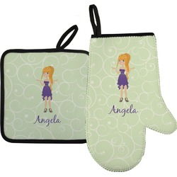 Custom Character (Woman) Oven Mitt & Pot Holder (Personalized)