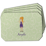 Custom Character (Woman) Dining Table Mat - Octagon w/ Name or Text