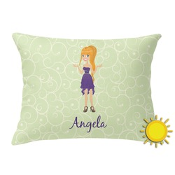 Custom Character (Woman) Outdoor Throw Pillow (Rectangular) (Personalized)