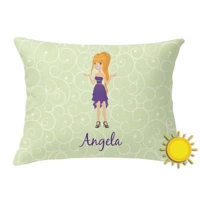 Custom Character (Woman) Outdoor Throw Pillow (Rectangular) (Personalized) - YouCustomizeIt
