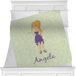 "Custom Character (Woman) Fleece Blanket - Queen / King - 90""x90"" - Double Sided (Personalized)"