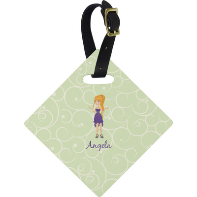 Custom Character (Woman) Diamond Luggage Tag (Personalized)