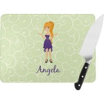 Custom Character (Woman) Rectangular Glass Cutting Board (Personalized)
