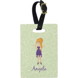 Custom Character (Woman) Rectangular Luggage Tag (Personalized)