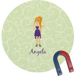 Custom Character (Woman) Round Magnet (Personalized)