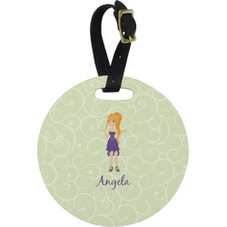 Custom Character (Woman) Round Luggage Tag (Personalized)