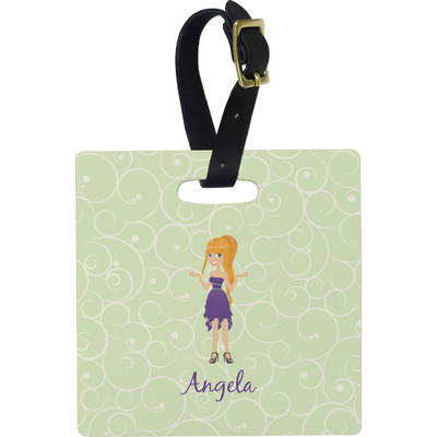 Custom Character (Woman) Square Luggage Tag (Personalized)