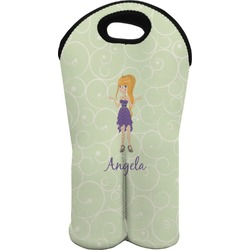 Custom Character (Woman) Wine Tote Bag (2 Bottles) (Personalized)