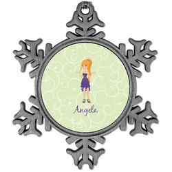 Custom Character (Woman) Vintage Snowflake Ornament (Personalized)