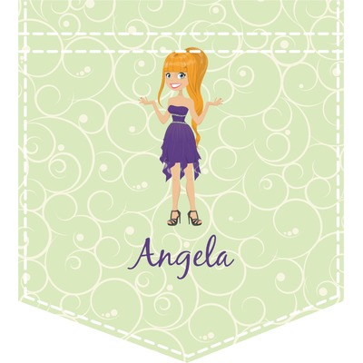 Custom Character (Woman) Iron On Faux Pocket (Personalized)