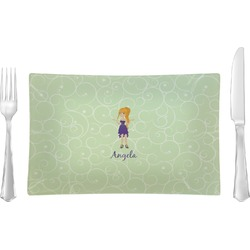 Custom Character (Woman) Glass Rectangular Lunch / Dinner Plate - Single or Set (Personalized)