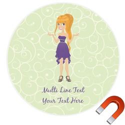 Custom Character (Woman) Round Car Magnet (Personalized)