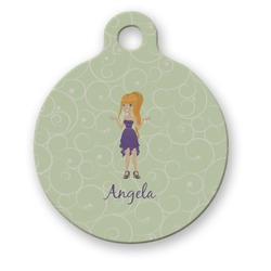 Custom Character (Woman) Round Pet Tag (Personalized)