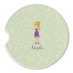 Custom Character (Woman) Sandstone Car Coasters (Personalized)