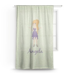 Custom Character (Woman) Sheer Curtains (Personalized)