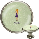 Custom Character (Woman) Cabinet Knob (Silver) (Personalized)