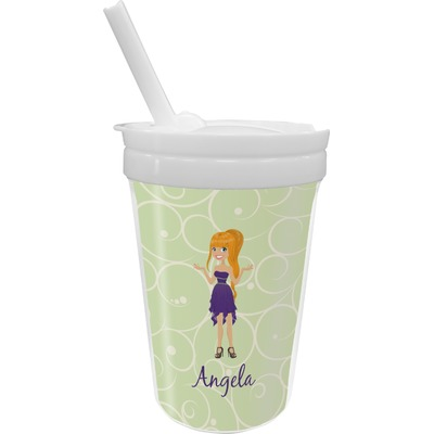 Custom Character (Woman) Sippy Cup with Straw (Personalized)