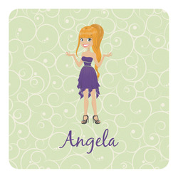 Custom Character (Woman) Square Decal - Large (Personalized)