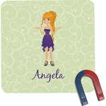 Custom Character (Woman) Square Fridge Magnet (Personalized)