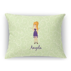 Custom Character (Woman) Rectangular Throw Pillow (Personalized)
