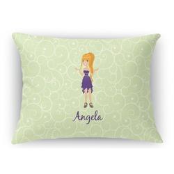 Custom Character (Woman) Rectangular Throw Pillow Case (Personalized)