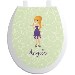 Custom Character (Woman) Toilet Seat Decal (Personalized)