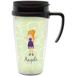 Custom Character (Woman) Travel Mug with Handle (Personalized)