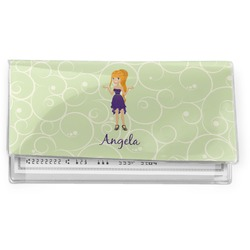 Custom Character (Woman) Vinyl Checkbook Cover (Personalized)
