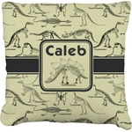 Dinosaur Skeletons Faux-Linen Throw Pillow (Personalized)