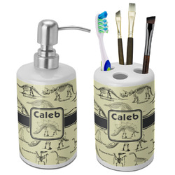 Dinosaur Skeletons Bathroom Accessories Set (Ceramic) (Personalized)