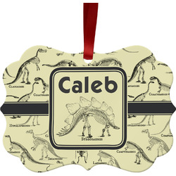 Dinosaur Skeletons Metal Frame Ornament - Double Sided w/ Name or Text