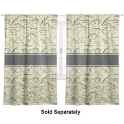 "Dinosaur Skeletons Curtains - 20""x54"" Panels - Lined (2 Panels Per Set) (Personalized)"