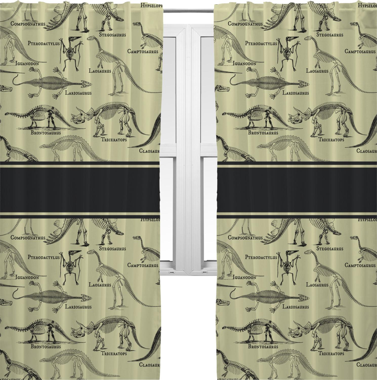 Dinosaur Skeletons Curtains 2 Panels Per Set Personalized