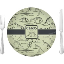 """Dinosaur Skeletons 10"""" Glass Lunch / Dinner Plates - Single or Set (Personalized)"""
