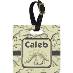 Dinosaur Skeletons Square Luggage Tag (Personalized)