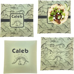 Dinosaur Skeletons Set of 4 - Square Dinner Plates (Personalized)